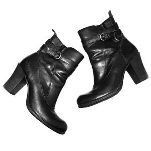 Born Chyler Black Leather Women's Ankle Boots